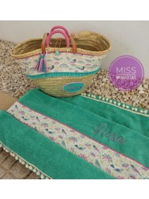 capazo cesta azul turquesa toalla verano comuniones regalos niñas