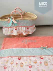 capazo y toalla regalo cumpleaños princesa playa verano comunión buho
