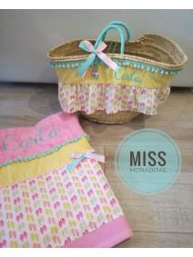 capazo y toalla regalo cumpleaños princesa playa verano comunión