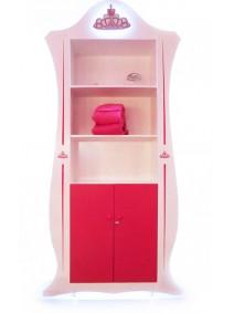 expositor con lejas rosa y blanco