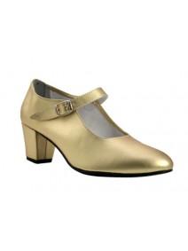 zapato flamenco en dorado