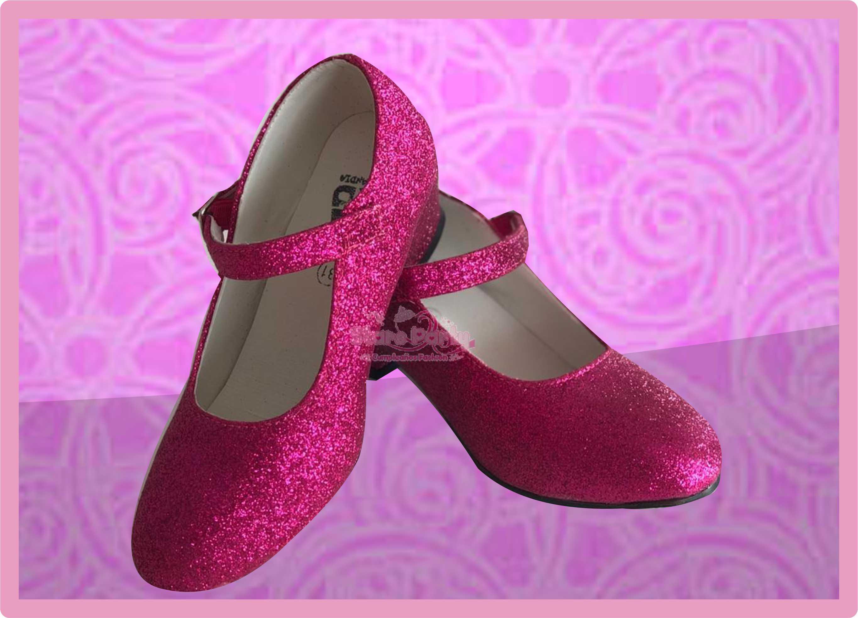 zapatos tacón purpurina
